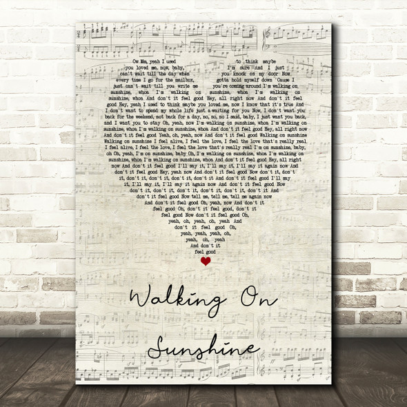 Katrina And The Waves Walking On Sunshine Script Heart Song Lyric Wall Art Print