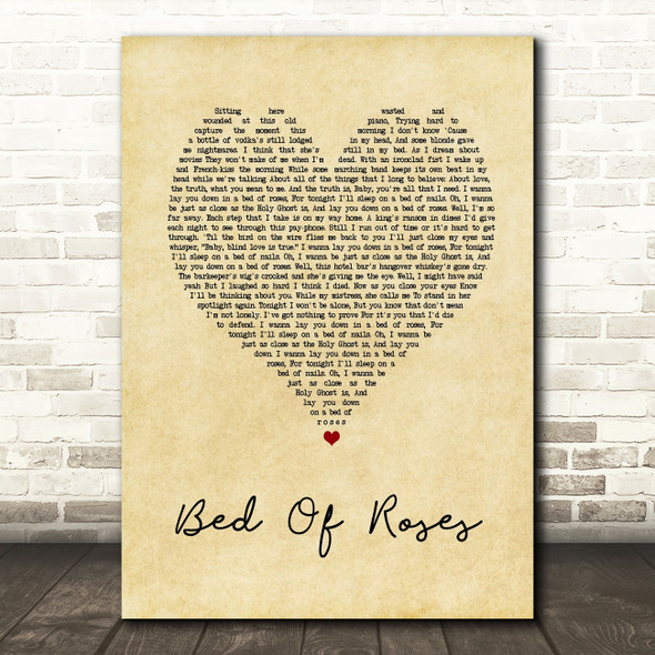 Bon Jovi Bed Of Roses Vintage Heart Song Lyric Quote Print