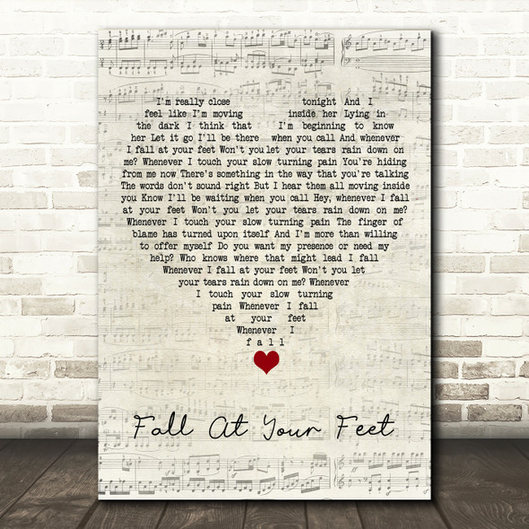 Crowded House Fall At Your Feet Script Heart Song Lyric Wall Art Print