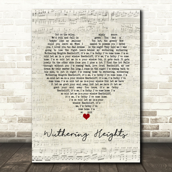Kate Bush Wuthering Heights Script Heart Song Lyric Wall Art Print