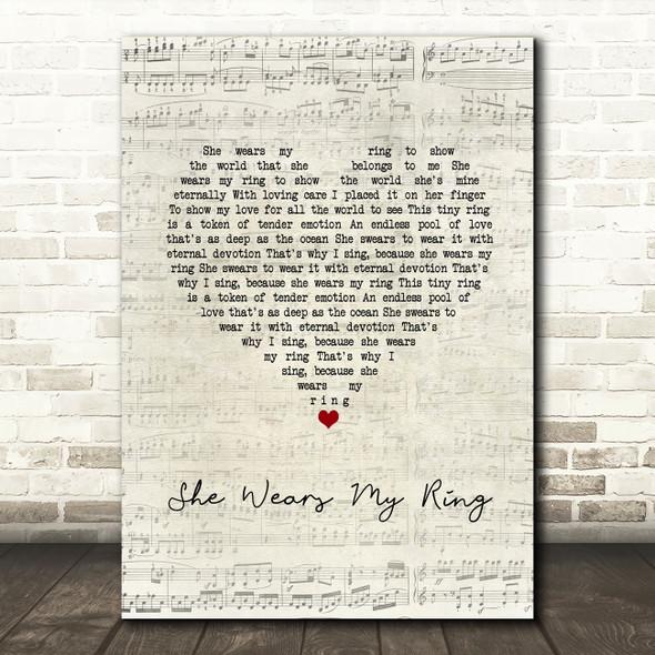 Solomon King She Wears My Ring Script Heart Song Lyric Wall Art Print