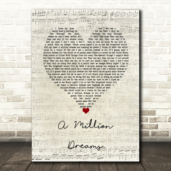 Ziv Zaifman, Hugh Jackman, Michelle Williams A Million Dreams Script Heart Song Lyric Wall Art Print