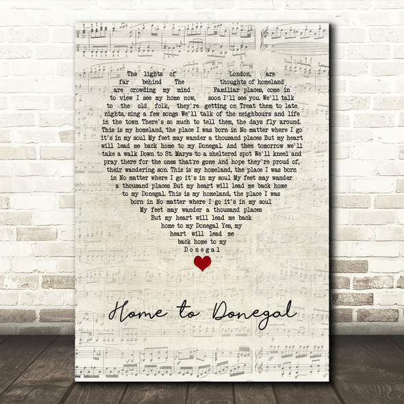 Daniel O'Donnell Home to Donegal Script Heart Song Lyric Wall Art Print