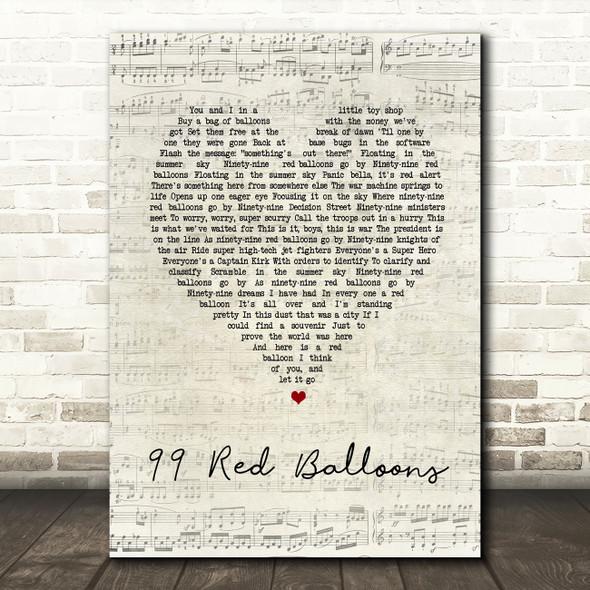 Nena 99 Red Balloons Script Heart Song Lyric Wall Art Print