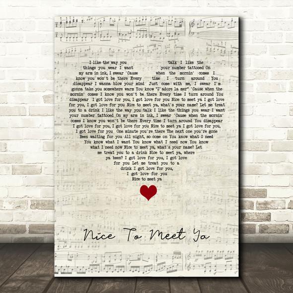 Niall Horan Nice To Meet Ya Script Heart Song Lyric Wall Art Print