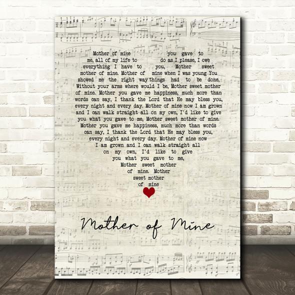 Neil Reid Mother of Mine Script Heart Song Lyric Wall Art Print