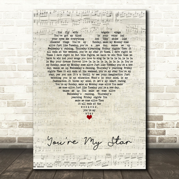 Stereophonics You're My Star Script Heart Song Lyric Wall Art Print