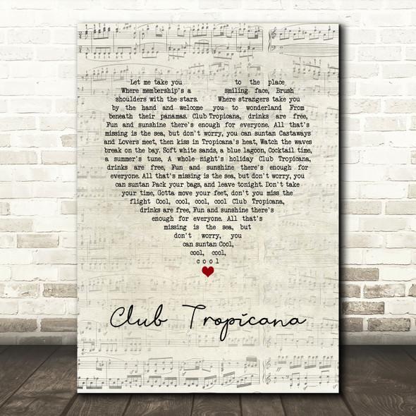 Wham! Club Tropicana Script Heart Song Lyric Wall Art Print