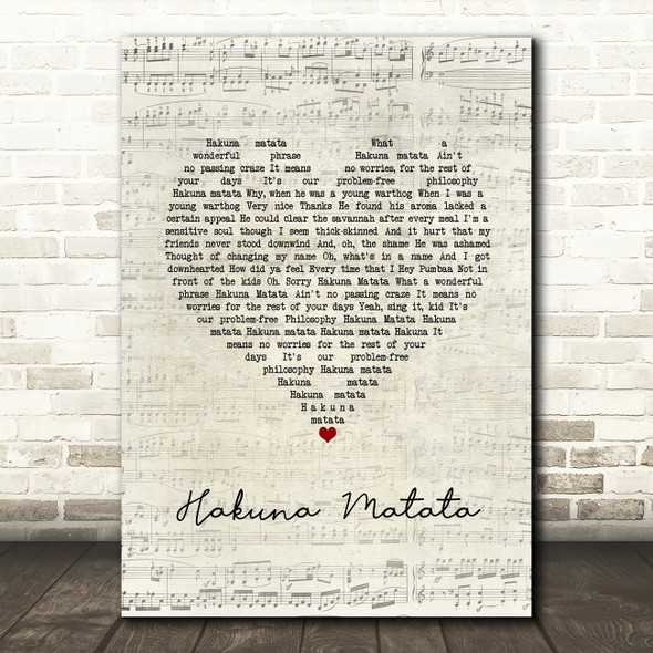 The Lion King Hakuna Matata Script Heart Song Lyric Wall Art Print