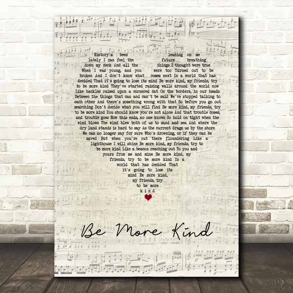 Frank Turner Be More Kind Script Heart Song Lyric Wall Art Print