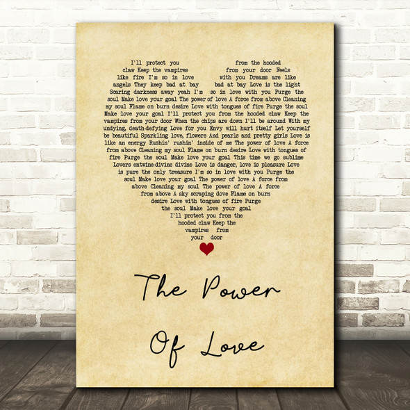 Frankie Goes To Hollywood The Power Of Love Vintage Heart Song Lyric Quote Print