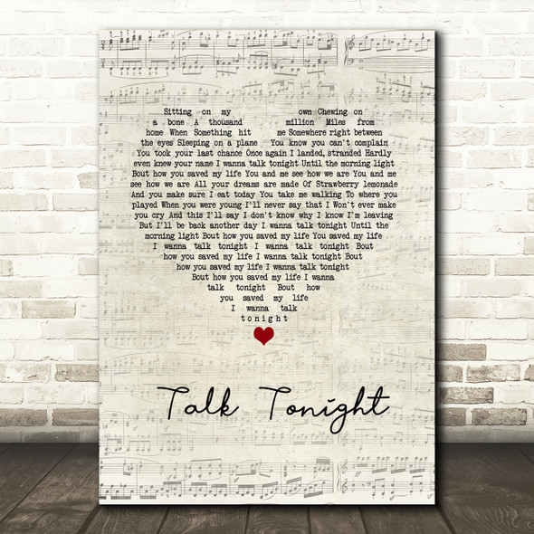 Oasis Talk Tonight Script Heart Song Lyric Wall Art Print