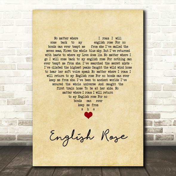 Paul Weller English Rose Script Heart Song Lyric Wall Art Print