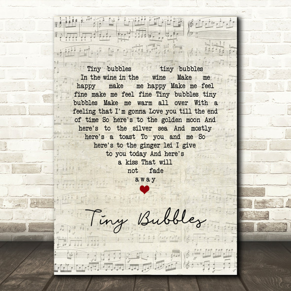 Sidney Devine Tiny Bubbles Script Heart Song Lyric Wall Art Print