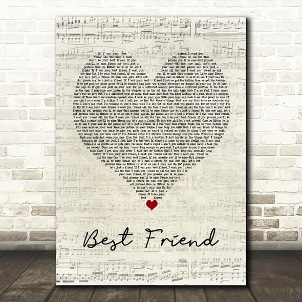 50 Cent Best Friend Script Heart Song Lyric Wall Art Print