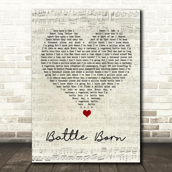 Five Finger Death Punch Battle Born Script Heart Song Lyric Wall Art Print
