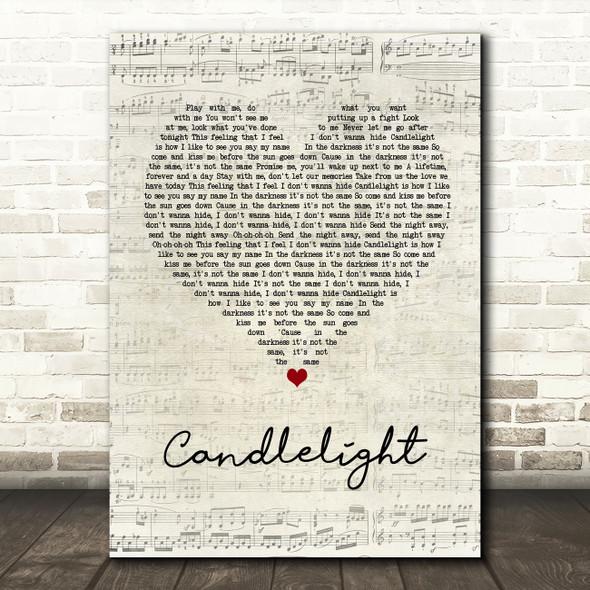 Jack Savoretti Candlelight Script Heart Song Lyric Wall Art Print