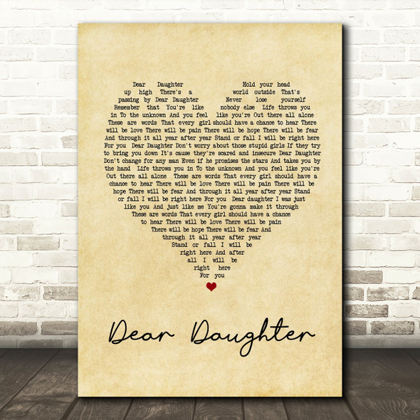 Halestorm Dear Daughter Vintage Heart Song Lyric Quote Print