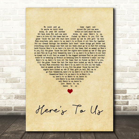 Halestorm Here's To Us Vintage Heart Song Lyric Quote Print