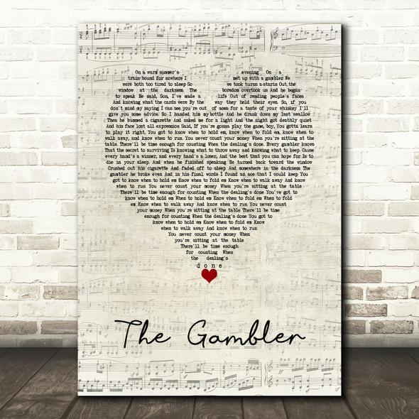 Kenny Rogers The Gambler Script Heart Song Lyric Wall Art Print