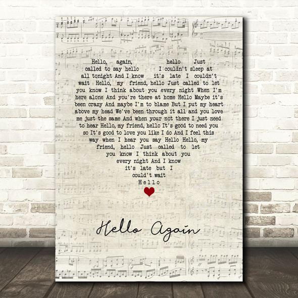 Neil Diamond Hello Again Script Heart Song Lyric Wall Art Print