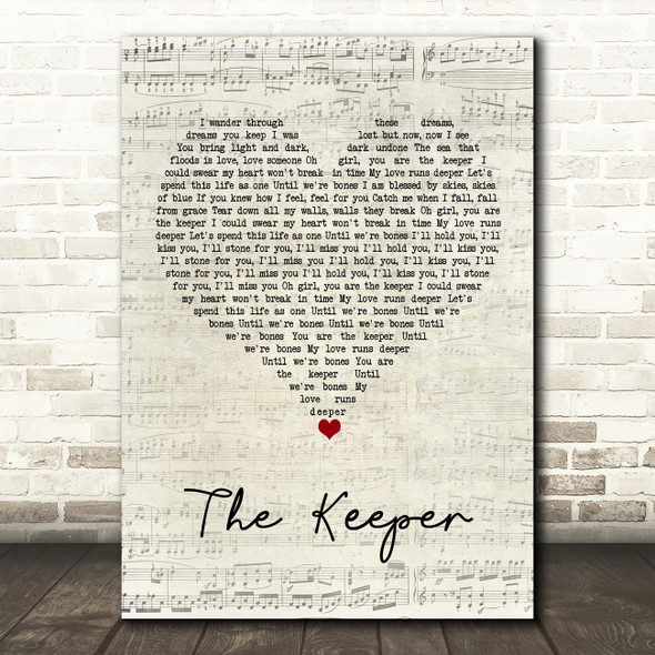 Blossoms The Keeper Script Heart Song Lyric Wall Art Print
