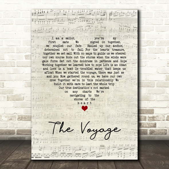 Christy Moore The Voyage Script Heart Song Lyric Wall Art Print