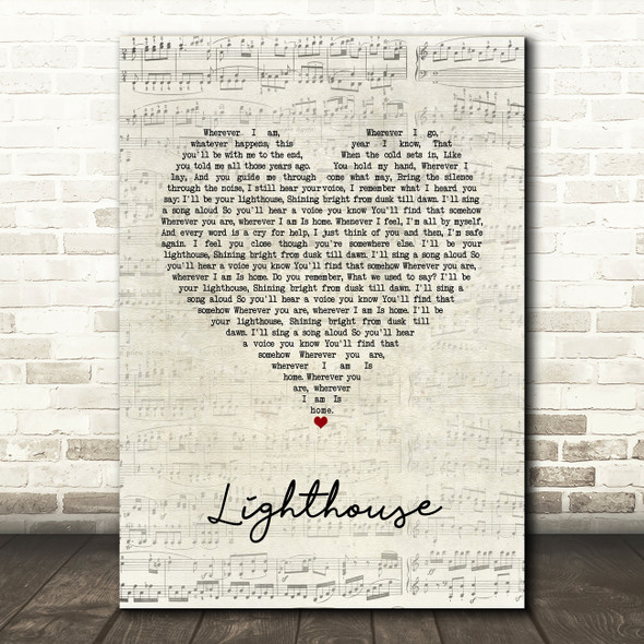 Collabro Lighthouse Script Heart Song Lyric Wall Art Print