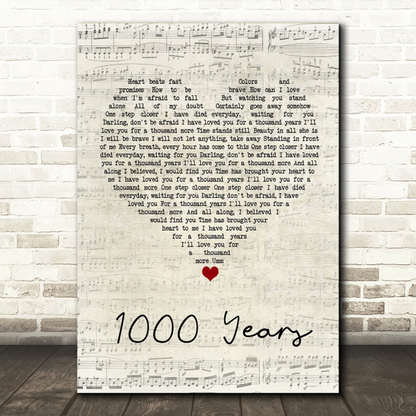 Isabella Breedlove 1000 Years Script Heart Song Lyric Wall Art Print
