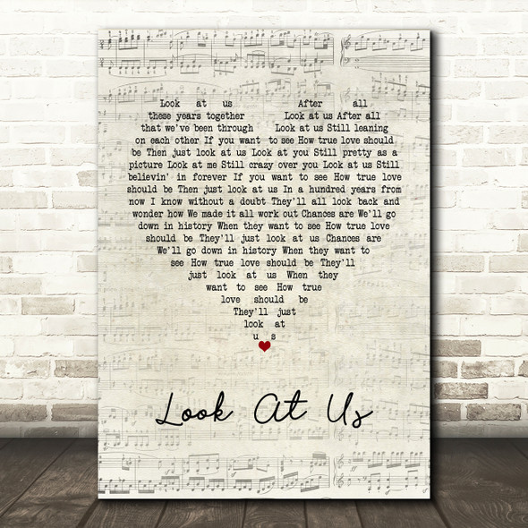 Vince Gill Look At Us Script Heart Song Lyric Wall Art Print