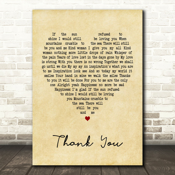 Led Zeppelin Thank You Vintage Heart Song Lyric Quote Print
