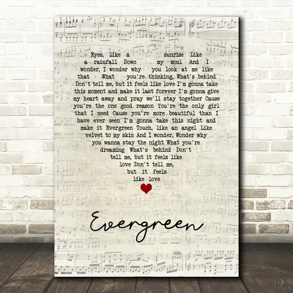 Will Young Evergreen Script Heart Song Lyric Wall Art Print