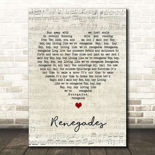 X Ambassadors Renegades Script Heart Song Lyric Wall Art Print