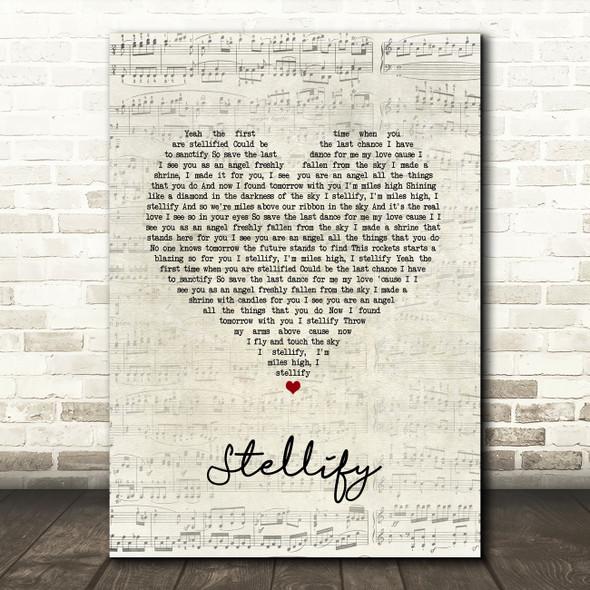 Ian Brown Stellify Script Heart Song Lyric Wall Art Print
