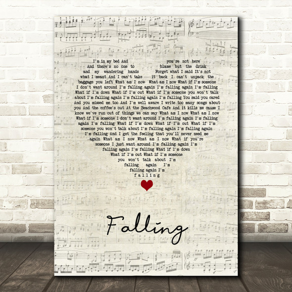 Harry Styles Falling Script Heart Song Lyric Wall Art Print