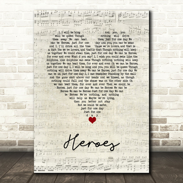 David Bowie Heroes Script Heart Song Lyric Wall Art Print