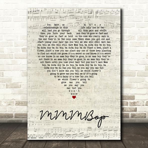 Hanson MMMBop Script Heart Song Lyric Wall Art Print