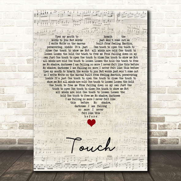 Hybrid Minds Touch Script Heart Song Lyric Wall Art Print