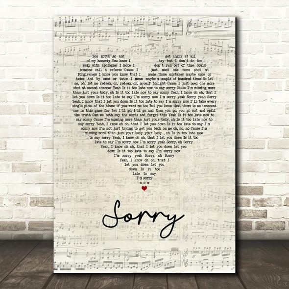 Justin Bieber Sorry Script Heart Song Lyric Wall Art Print