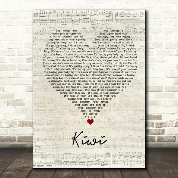 Harry Styles Kiwi Script Heart Song Lyric Wall Art Print