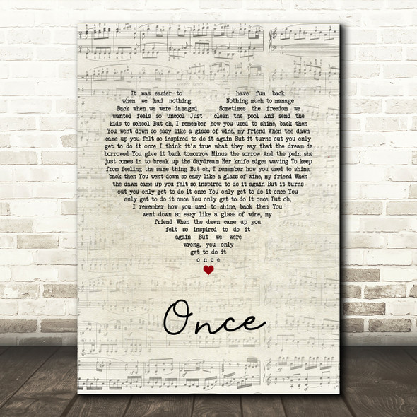 Liam Gallagher Once Script Heart Song Lyric Wall Art Print