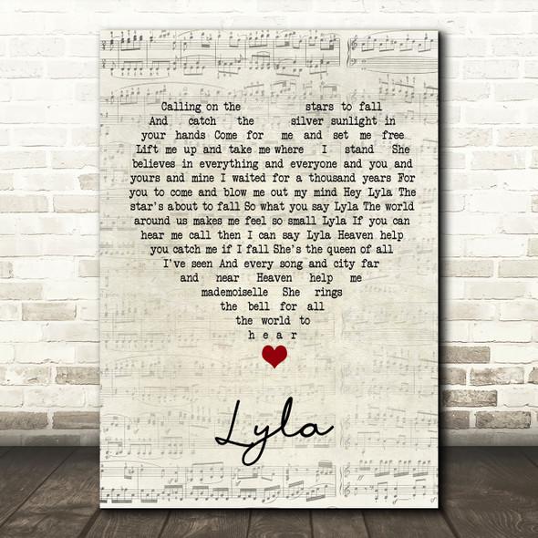 Oasis Lyla Script Heart Song Lyric Wall Art Print
