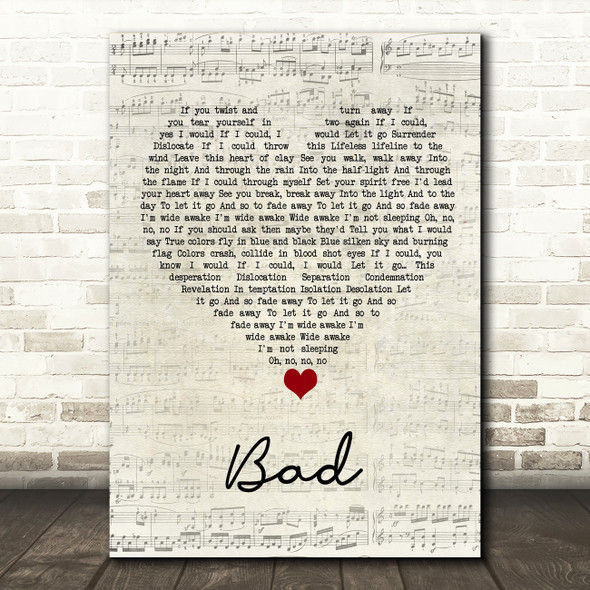 U2 Bad Script Heart Song Lyric Wall Art Print