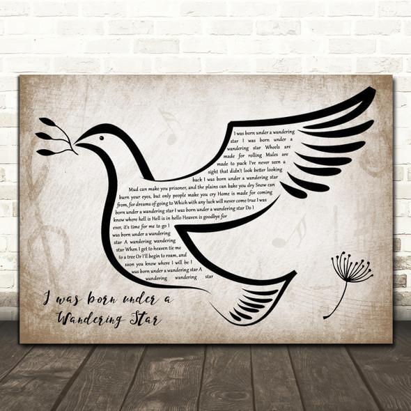 Lee Marvin I was born under a Wandering Star Vintage Dove Bird Song Lyric Wall Art Print