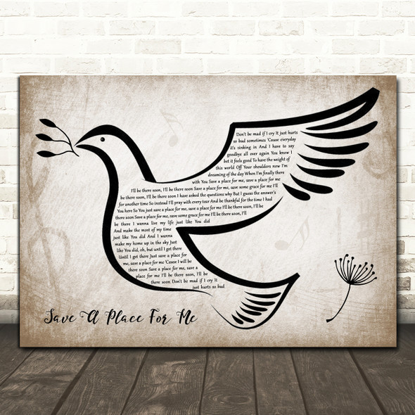 Matthew West Save A Place For Me Vintage Dove Bird Song Lyric Wall Art Print