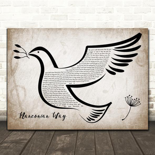 Take That Mancunian Way Vintage Dove Bird Song Lyric Wall Art Print