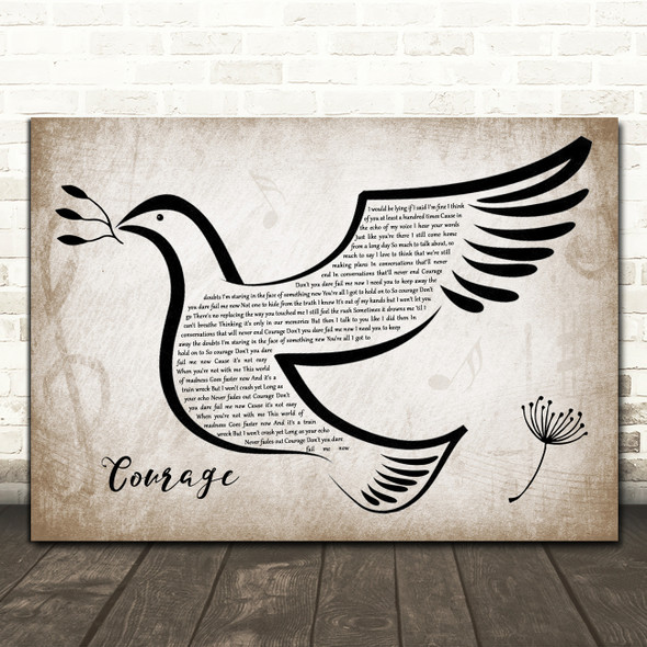 Celine Dion Courage Vintage Dove Bird Song Lyric Wall Art Print