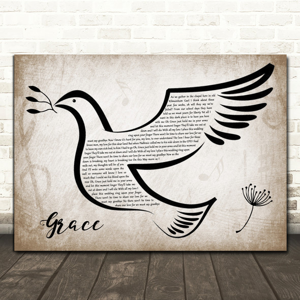 Rod Stewart Grace Vintage Dove Bird Song Lyric Wall Art Print