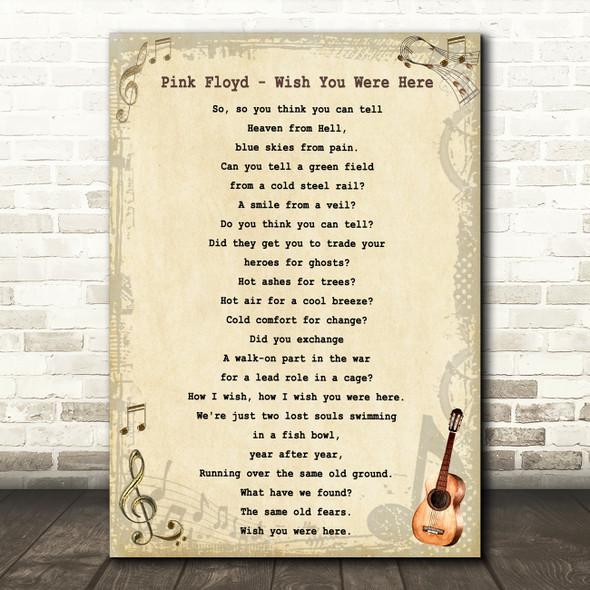 Pink Floyd Wish You Were Here Vintage Guitar Song Lyric Wall Art Print