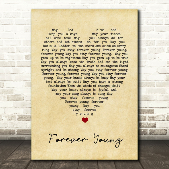 Forever Young Bob Dylan Vintage Heart Quote Song Lyric Print